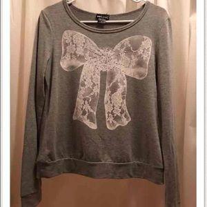Lace rhinestone bow gray long sleeve knit top